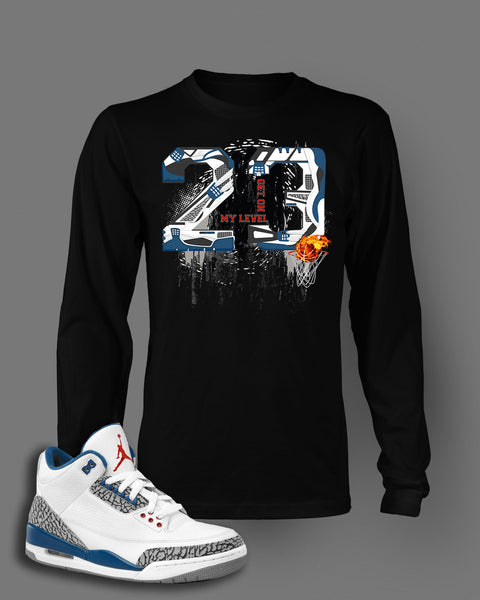 36e657bd67ef5e Long Sleeve Graphic T Shirt To Match Retro Air Jordan 3 True Blue Shoe –  Vegas Big and Tall