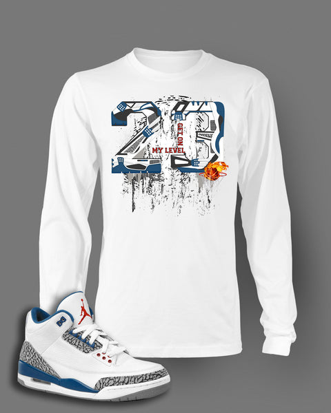 Long Sleeve Graphic T Shirt To Match Retro Air Jordan 3 True Blue Shoes
