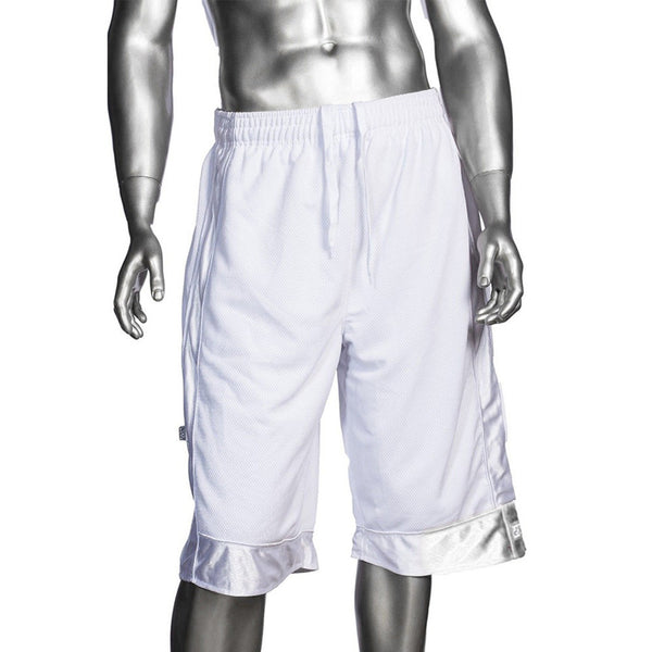 Mens Pro Club Mesh Jersey Basketball Shorts Small to 7XL White - Just Sneaker Tees - 1