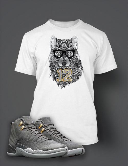 32891ff69d6 Graphic Wolf T Shirt to Match Retro Air Jordan 12 Cool Grey Shoe