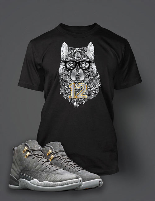 9871e1bbec99 Graphic Wolf T Shirt to Match Retro Air Jordan 12 Cool Grey Shoe