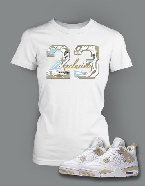 Ladies Bella T Shirt To Match Retro Air Jordan 4 Linen Shoe