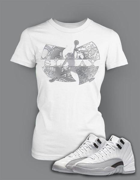 Ladies Bella T Shirt To Match Retro Air Jordan 12 Wolf Grey Shoe