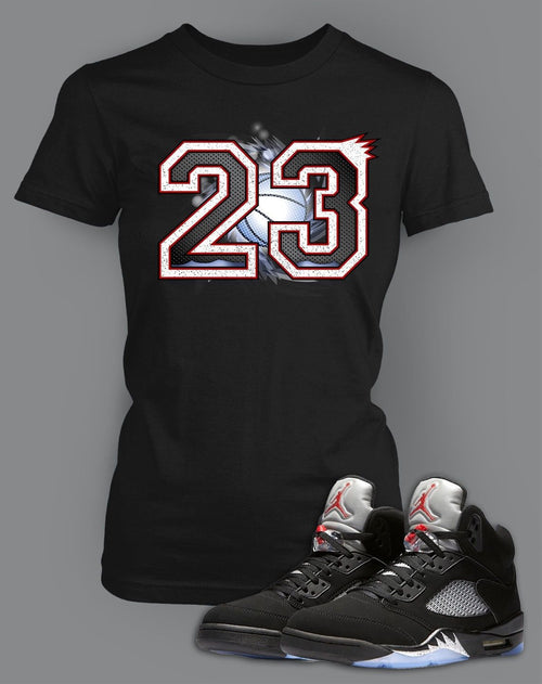 Ladies Bella T Shirt To Match Retro Air Jordan 5 Black Metallic Shoe