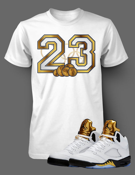 Custom T Shirt To Match Air Jordan 5 Olympics Shoe - Just Sneaker Tees - 1