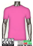 PRO CLUB Short Sleeve  HEAVYWEIGHT Premium T Shirt Pink