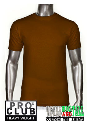 PRO CLUB Short Sleeve  HEAVYWEIGHT Premium T Shirt Brown