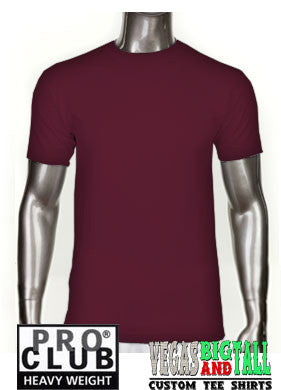 PRO CLUB Short Sleeve  HEAVYWEIGHT Premium T Shirt Burgandy