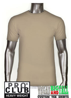 PRO CLUB Short Sleeve  HEAVYWEIGHT Premium T Shirt Khaki