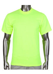PRO CLUB Short Sleeve  HEAVYWEIGHT Premium T Shirt Safety Green