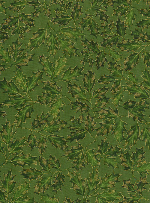 Natures Holiday Holly Leaves CM8787 Green for Timeless Treasures