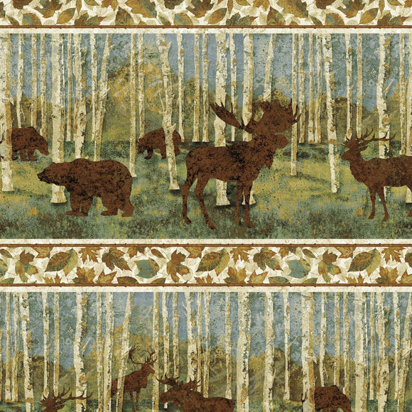 Stonehenge Wilderness Blue Spruce by Linda Ludovico for Northcott Fabrics