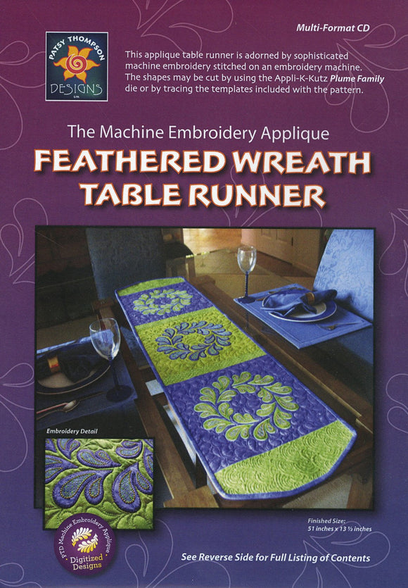 Feathered Wreath Table Runner, Machine Embroidery Pattern