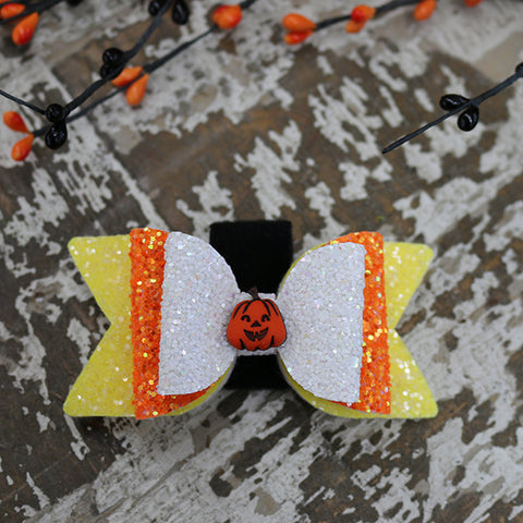Glitter Bow Tie for Collar - Pumpkin
