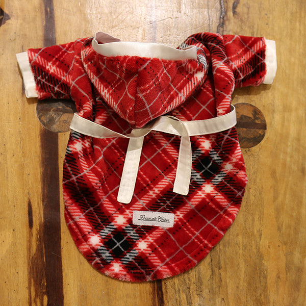 Plaid Handmade Ultra Plush Fleece Robe with Satin Trims