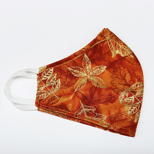 Handmade Fitted Cotton Face Mask - Metallic Fall Leaves