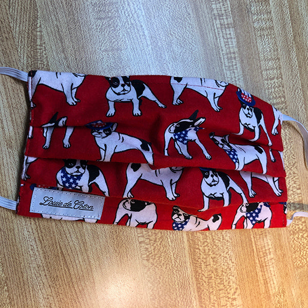 Handmade Cotton Flannel Face Mask - Red Frenchie