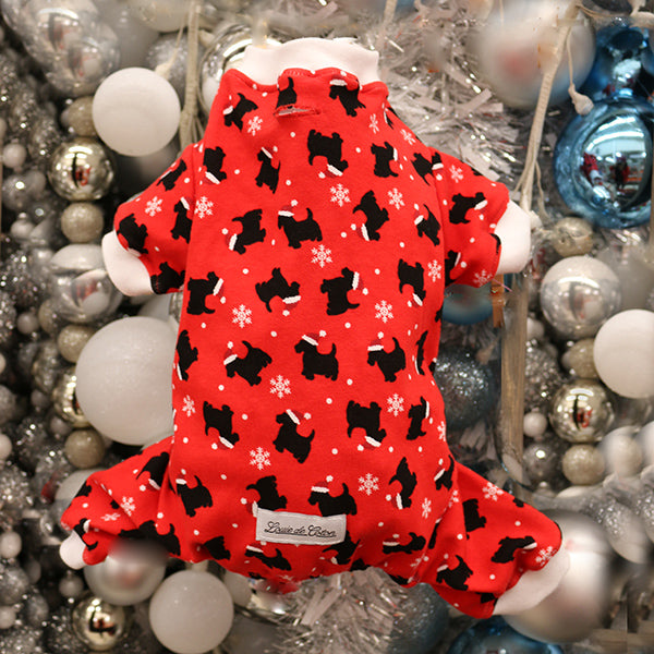 Handmade Holiday Cotton Pajamas - Red Pup
