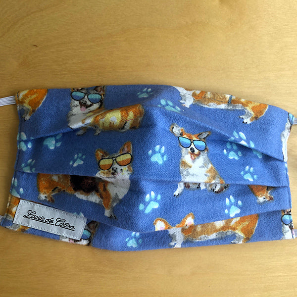 Handmade Cotton Flannel Face Mask - Corgi