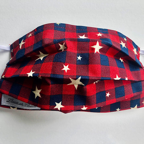 Handmade Cotton Face Mask - Plaid with Stars