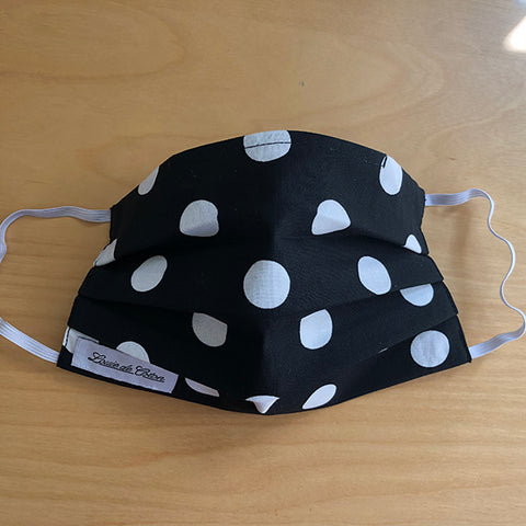 Handmade Cotton Face Mask - Black Polka Dot