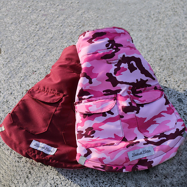 Insulated Reversible Puffer Jacket - Pink Camo/Maroon