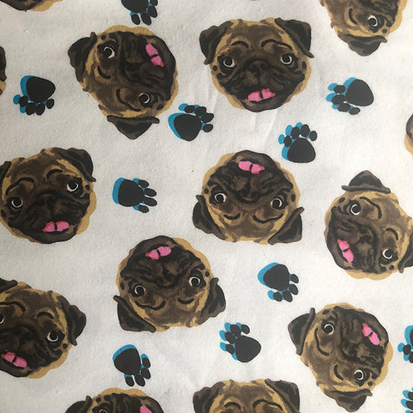 Handmade Cotton Flannel Face Mask - Pugs