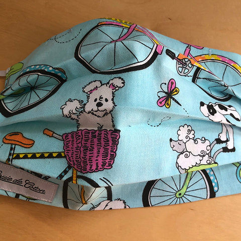 Handmade Cotton Face Mask - Biking Puppy