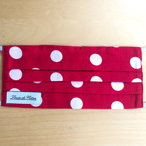 Handmade Cotton Face Mask - Red Polka Dot
