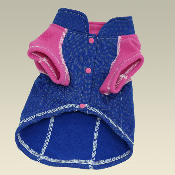 full length reflective outwear small dogs pink blue front view