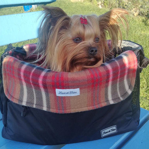 Classic Plaid small dog carrier liner blanket demo