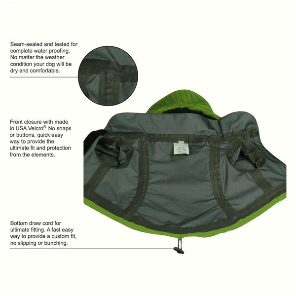 Small dog jacket green full length interior feature detail