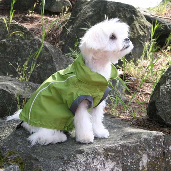 Small dog jacket green full length raincoat