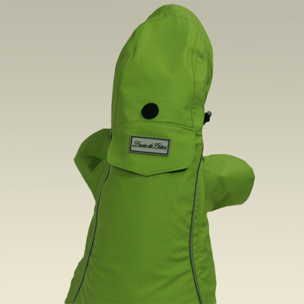 Small dog raincoat green full length rear view extended hood