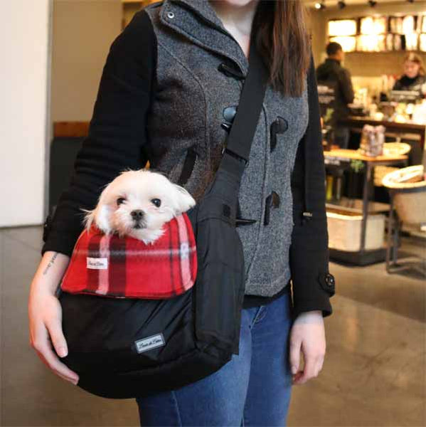 small dog carrier bag liner and blanket fiery red model