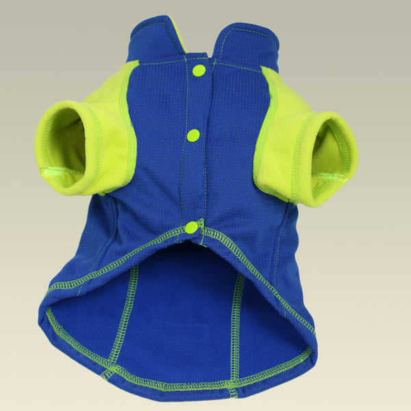 full length reflective outwear small dogs blue front view