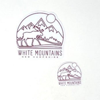 White Mountains NH Moose Sticker