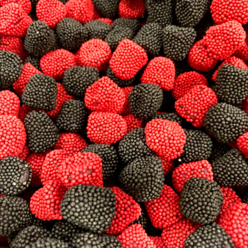 Gummi Raspberries and Blackberries