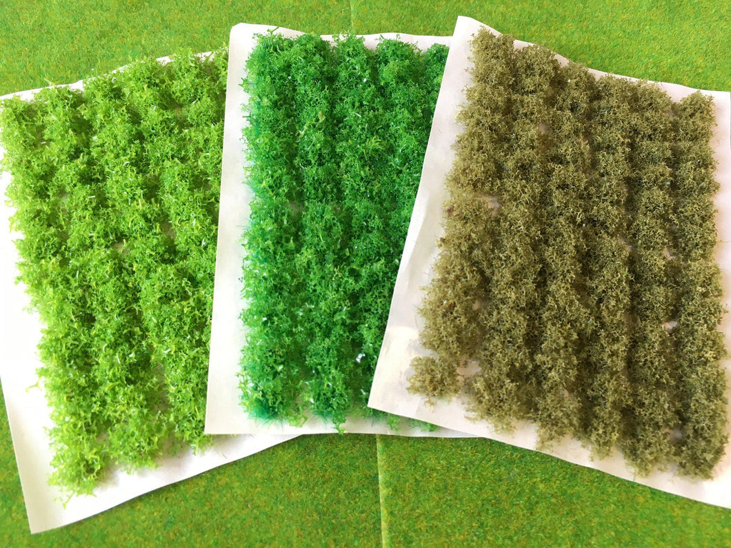 3 x Green Bushy Vegetation - Static Grass Tuft Set