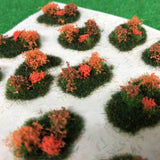 Orange Flower and Bush Tuft Dioramas - Static Grass Tufts