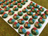 Orange, Red and Light Blue Flowers Tuft Dioramas - Static Grass Tufts