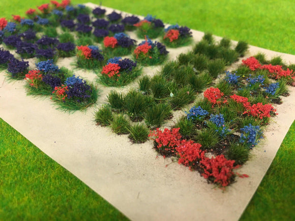 Mixed Grassy and Soil Flower Tuft Dioramas - Static Grass Tufts