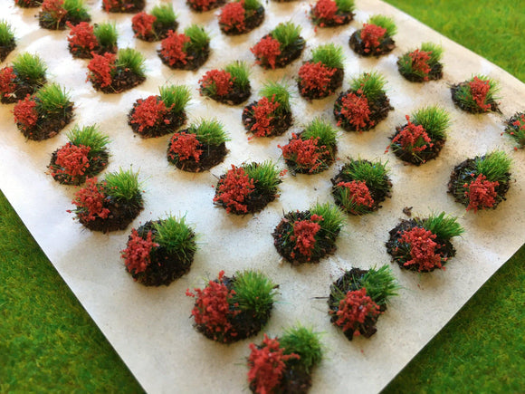 Red Mini Flower and Grass Dioramas - Static Grass Tufts