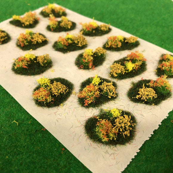 Yellow Flower and Bush Tuft Dioramas - Static Grass Tufts