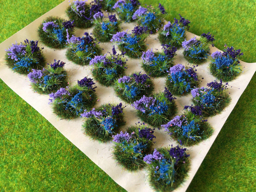Purple And Blue Flowers Tuft Dioramas Static Grass Tufts Serious