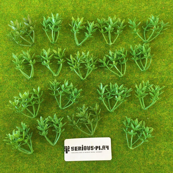 Light Green Plastic Leafy Shrubs (4cm)