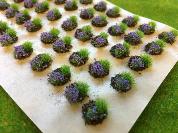 Lavender Mini Flower and Grass Dioramas - Static Grass Tufts