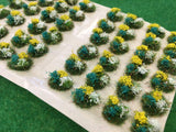 White, Yellow and Dark Green Flowers Tuft Dioramas - Static Grass Tufts