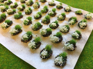 White Mini Flower and Grass Dioramas - Static Grass Tufts