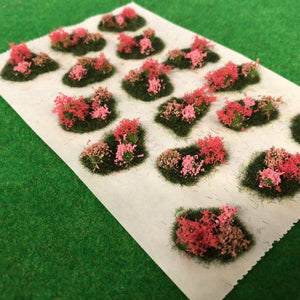Pink Flower and Bush Tuft Dioramas - Static Grass Tufts